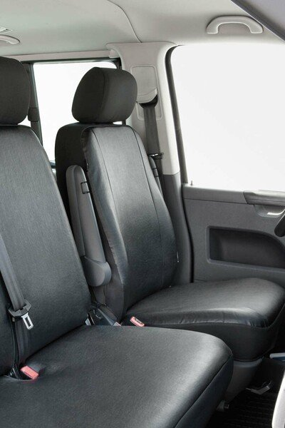 Car Seat cover Transporter made of imitation leather for VW T5, single seat front with recess for armrest
