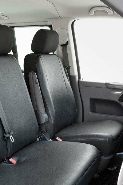 Housses de sièges pour siège avant unique du T5 de VW en simili cuir, année 04/2003 - 08/2009
