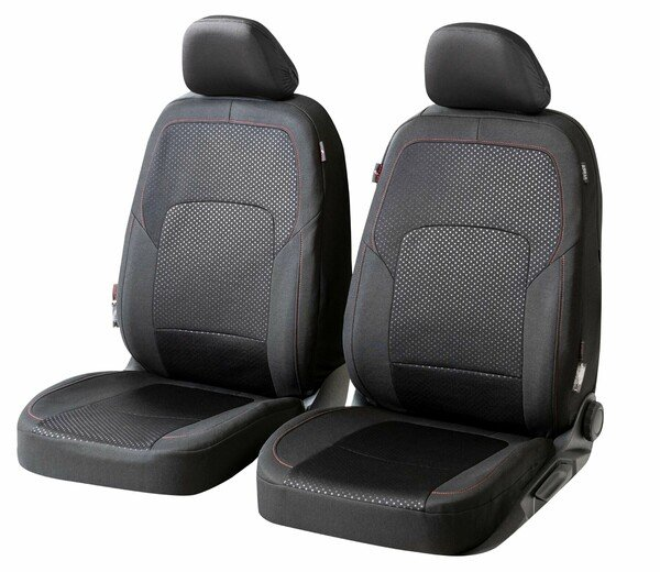 ZIPP IT Premium Car seat covers Logan for two front seats with zip-system black/red