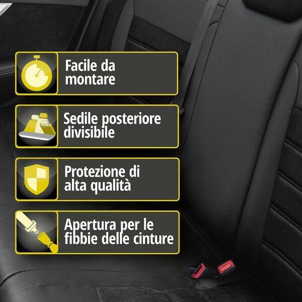 Coprisedile 'Bari' per Audi A4 modello anno 2015 fino ad oggi - 1 coprisedile posteriore per sedili normali