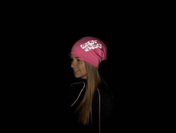 berretto reversibile, berretto, berretto sportivo riflettente rosa-argento