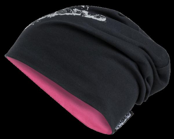 reversible beanie, cap, sports cap reflective pink-silver
