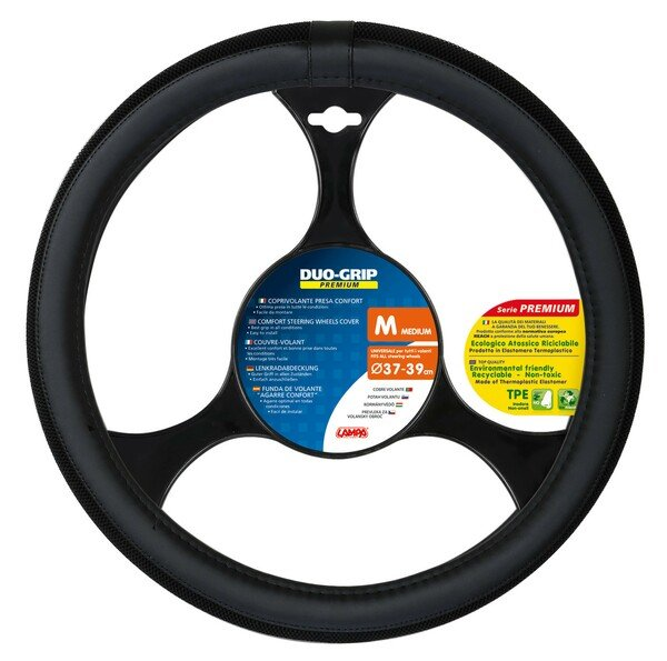 steering wheel cover Duo Grip black size M 37-39 cm