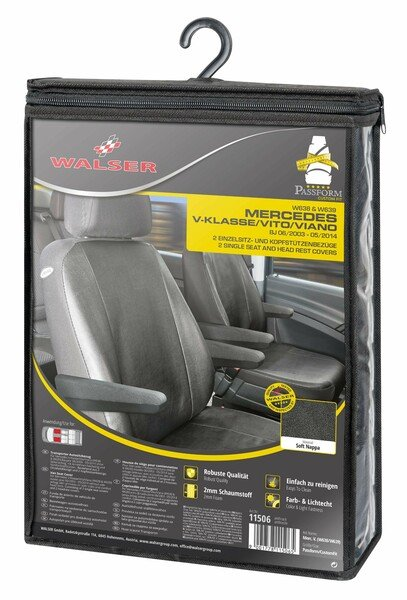 Car Seat cover Transporter made of imitation leather for Mercedes-Benz Viano/Vito, 2 single seats with armrest inside & outside