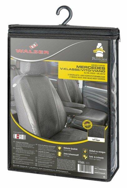 Housse de siège Transporter en simili cuir pour Mercedes-Benz Viano/Vito, 2 sièges simples accoudoir intérieur