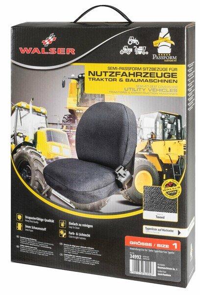 Housse de siège semi-ajustée pour tracteurs et machines de construction - taille 1
