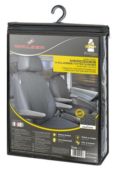 Transporter Coprisedile in tessuto per Mercedes Vito/Viano, 2 posti singoli per bracciolo interno
