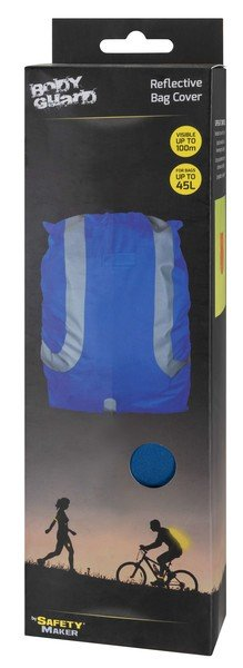 Reflective backpack cover water resistant blue 45L