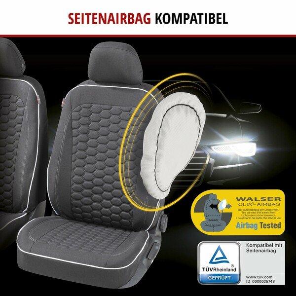 ZIPP IT Premium Autositzbezüge Kendal für zwei Vordersitze mit Reißverschluss-System schwarz/weiß