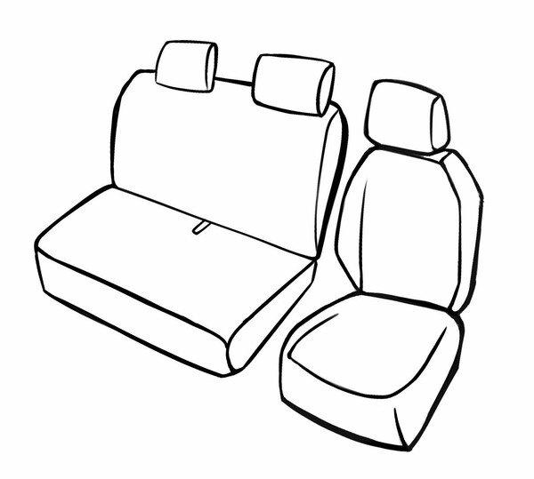 Premium Autositzbezug für Citroen Berlingo 06/2018-Heute, 1 Einzelsitzbezug vorne, 1 Doppelbankbezug