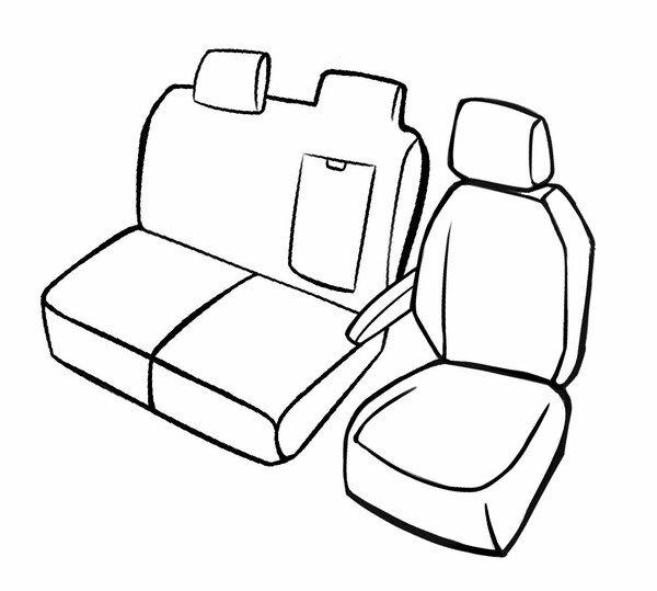 Premium Autositzbezug für Peugeot Expert 2016-Heute, 1 Einzelsitzbezug vorne + Armlehnenbezug, 1 Doppelbankbezug