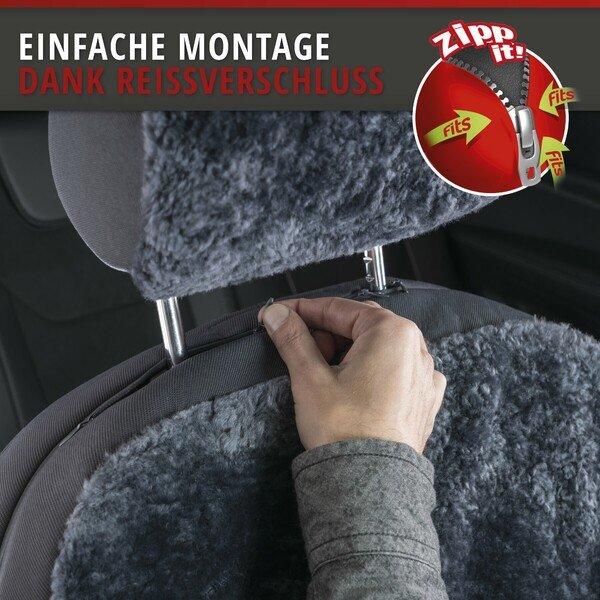 Autositzbezug Iva aus Lammfell anthrazit mit ZIPP IT System