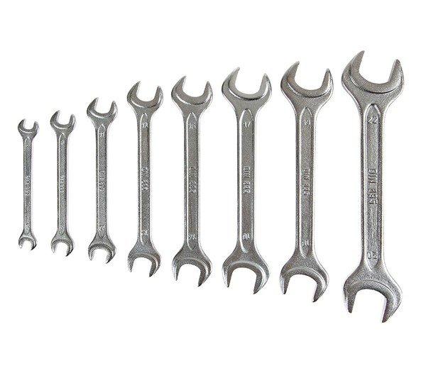 Double open ended spanner 8 piece set