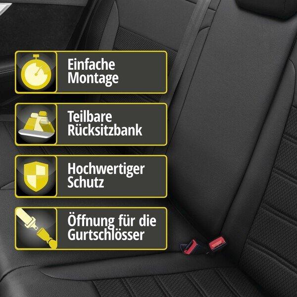 Passform Sitzbezug Aversa für Hyundai Tucson (TL, TLE) Baujahr 05/2015-Heute, 1 Rücksitzbankbezug für Normalsitze