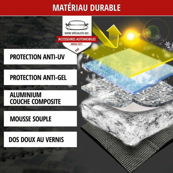 Protection thermique de pare-brise Premium avec couverture de rétroviseur latéral 147x120 cm