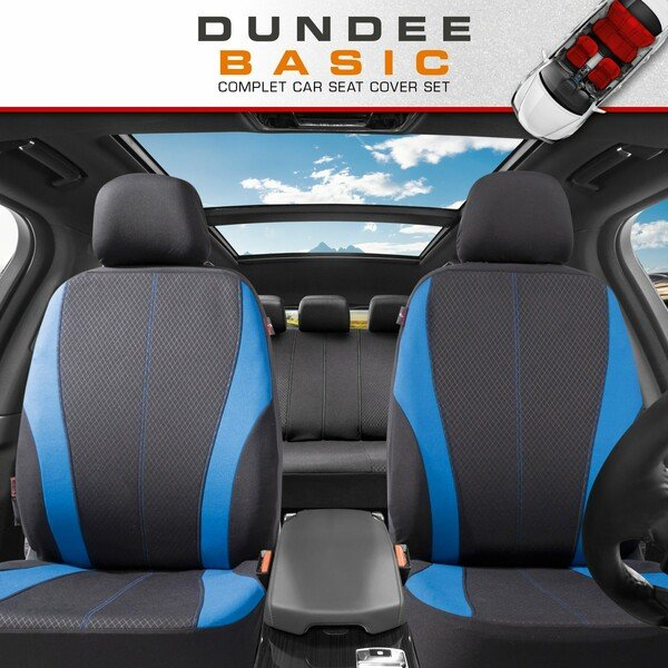 ZIPP IT Car seat covers Dundee complete set with zip-system black/blue