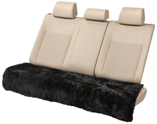 Lammfell Rückbank Sitzauflage Cacey schwarz 120x60 cm