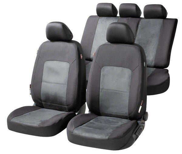 ZIPP IT Premium Autositzbezüge Ellington Komplettset mit Reißverschluss-System schwarz/grau