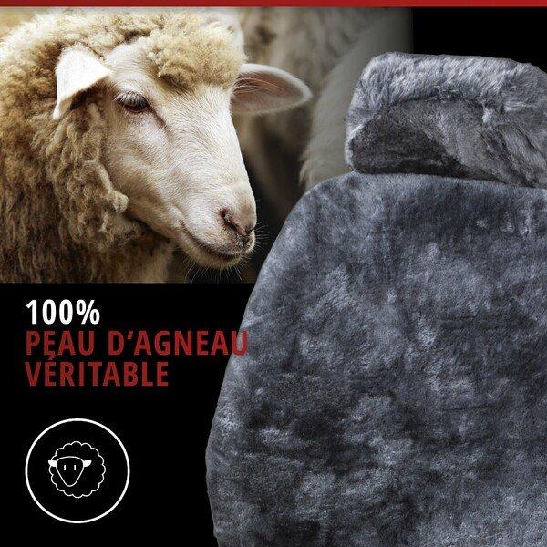 Housses de sièges Iva en peau d'agneau anthracite avec système informatique ZIPP