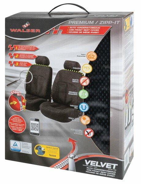 ZIPP IT Premium Velvet Car Seat covers for two front seats with zipper system