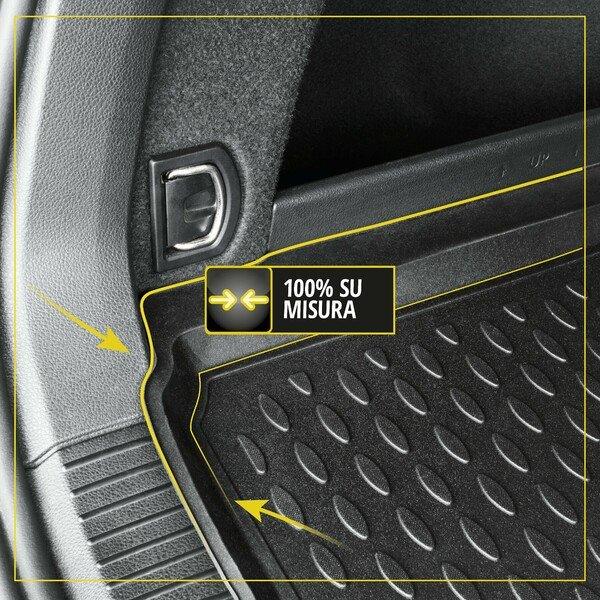 Vasca baule su misura per VW Touran, anno 2003 - 2015 7 posti, 3a fila dritta - tappetino corto