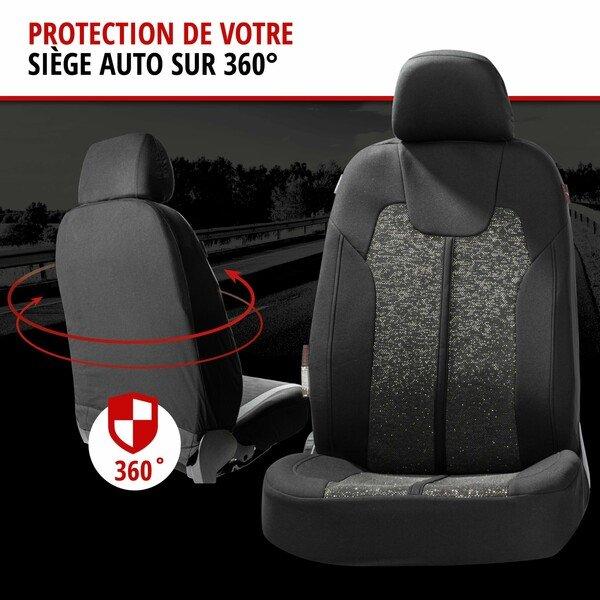 ZIPP IT Housse de sièges Corso pour deux sièges avant avec système de fermeture éclair noir/argent