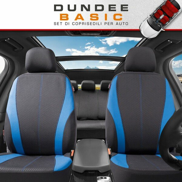 ZIPP IT Coprisedili Dundee set completo con sistema di chiusura lampo nero/blu