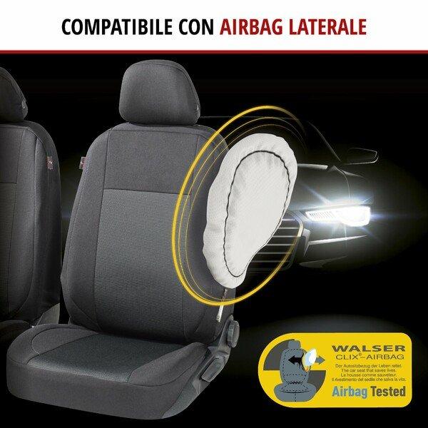 ZIPP IT Premium Coprisedili Ardwell per due sedili anteriori con sistema di chiusura lampo nero/grigio