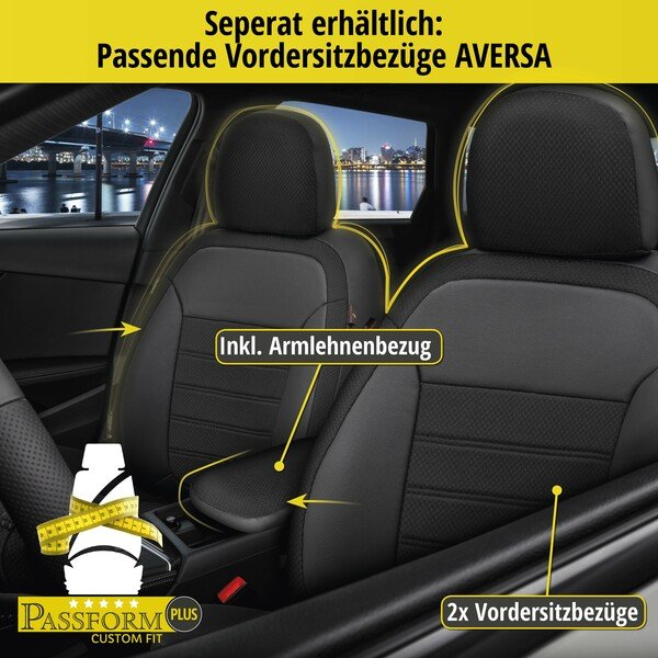 Passform Sitzbezug Aversa für BMW 1 (F20) Baujahr 07/2011-06/2019, 1 Rücksitzbankbezug für Sportsitze
