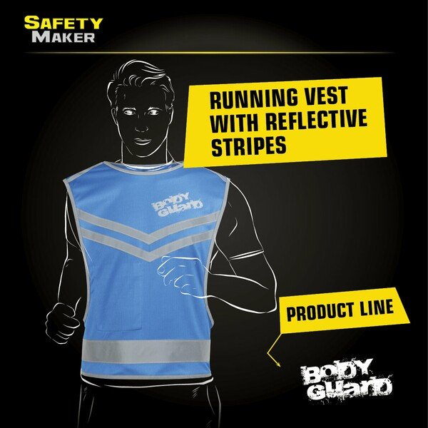 Running vest with reflector blue - size L/XL