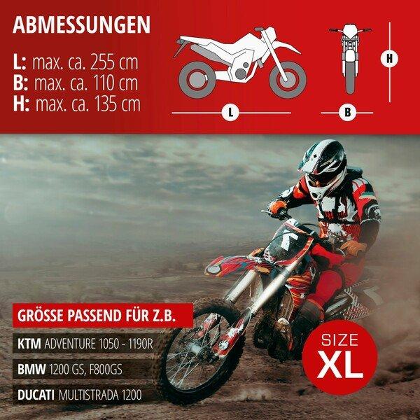 Motorradgarage Enduro Größe XL PVC - 255 x 110 x 135 cm grau