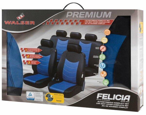 Housses de sièges Felicias bleu avec embossage