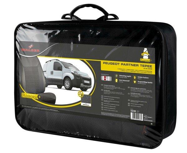 Premium Autositzbezug aus Stoff für Peugeot Partner Tepee 2 Einzelsitze vorne Baujahr 2008 - heute