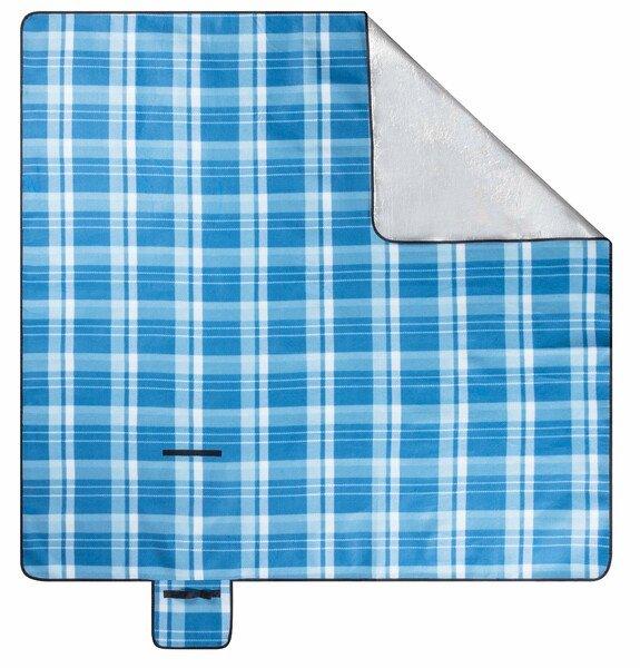 Reisedecke mit Aluminium Rückseite blau/weiß karo 200x200cm