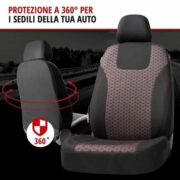 ZIPP IT Premium Coprisedili Redring per due sedili anteriori con sistema di chiusura lampo nero/rosso