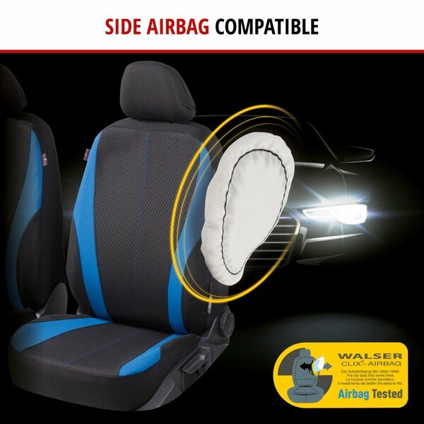 ZIPP IT Car seat covers Dundee for two front seats with zip-system black/blue