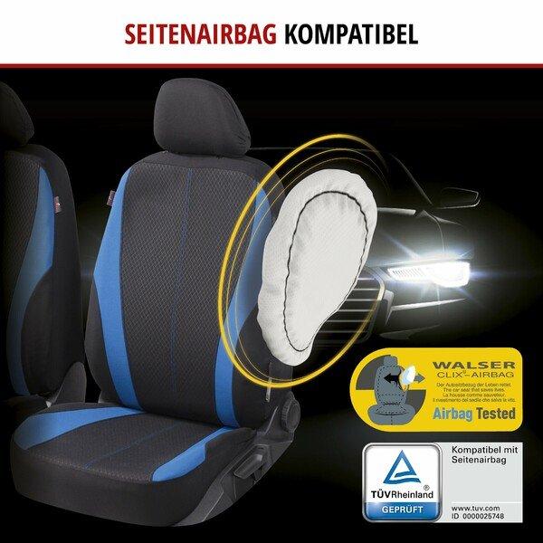 ZIPP IT Autositzbezüge Dundee für zwei Vordersitze mit Reißverschluss-System schwarz/blau