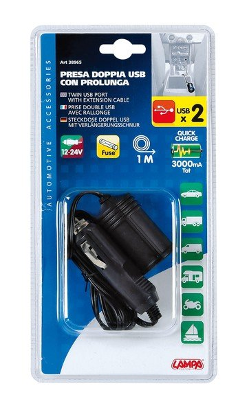 PKW Doppel USB Stecker mit Verlängerungskabel 12 Volt / 24 Volt