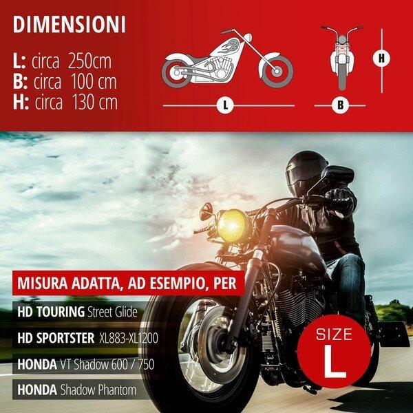 Garage per motociclette Dimensioni Chopper L PVC - 250 x 100 x 130 cm grigio