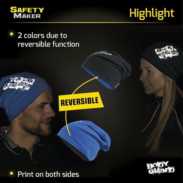 reversible beanie, cap, sports cap reflective blue-silver
