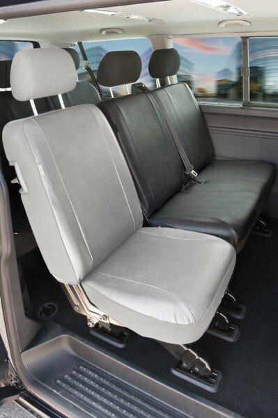 Housses de sièges pour VW T5 double banquette arrière en simili cuir, année 04/2003-06/2015